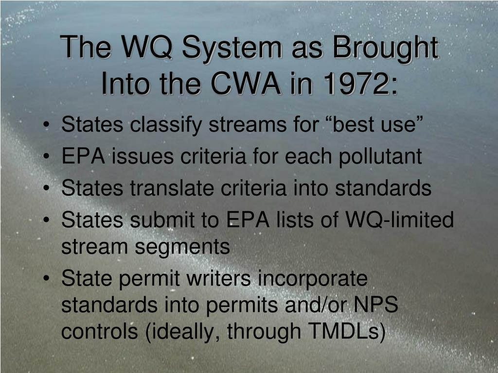 The WQ System as Brought Into the CWA in 1972: