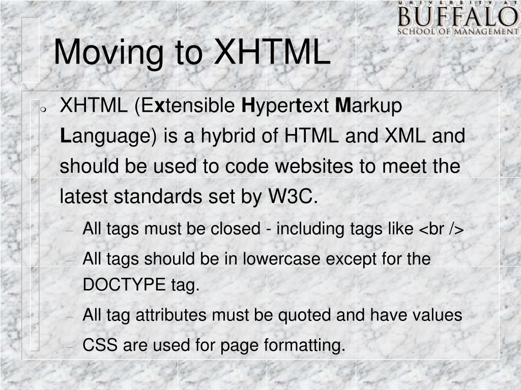 Moving to XHTML