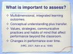 what is important to assess
