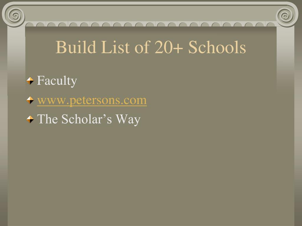 Build List of 20+ Schools