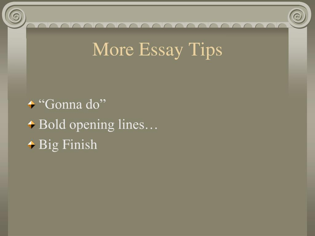 More Essay Tips