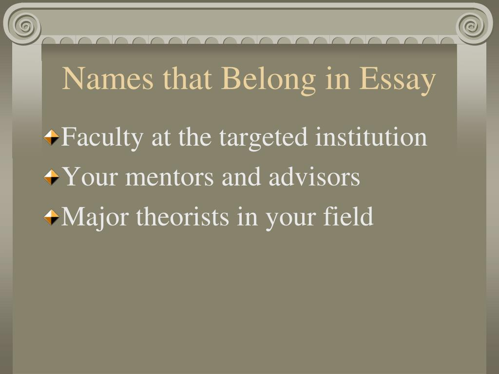 Names that Belong in Essay