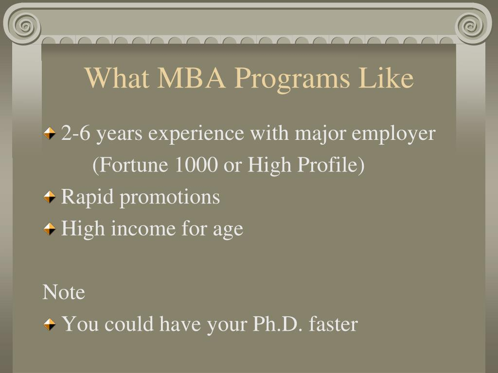 What MBA Programs Like