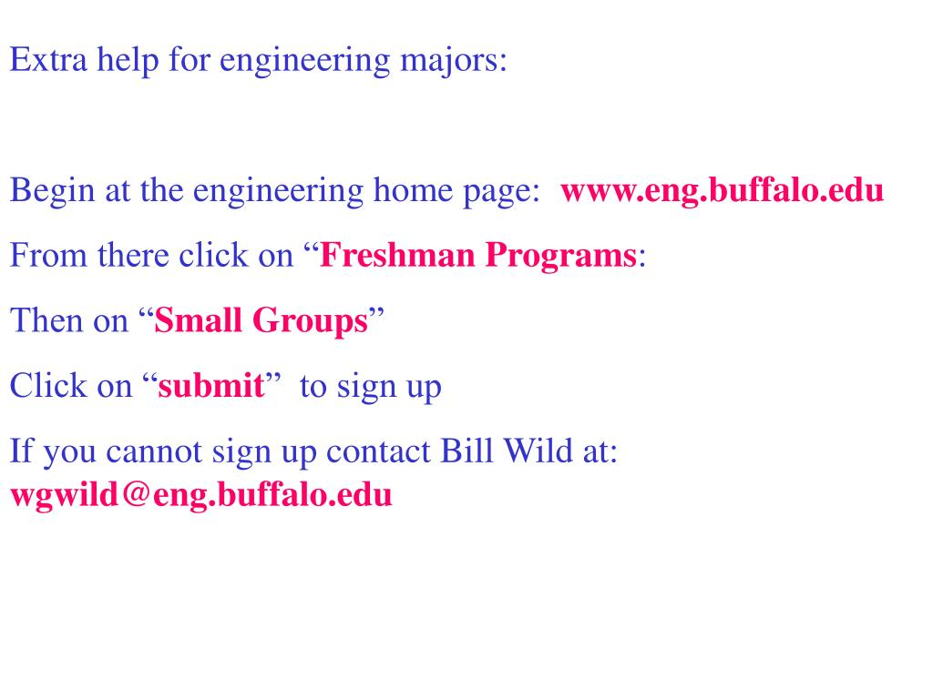 Extra help for engineering majors: