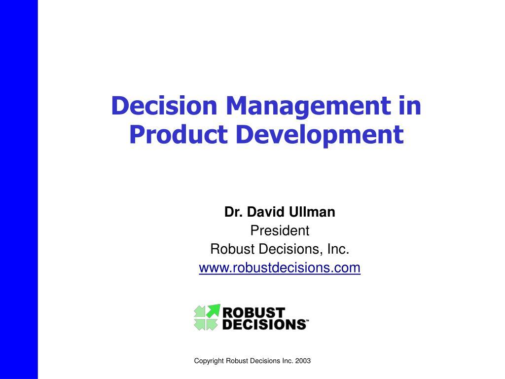 Decision Management in Product Development