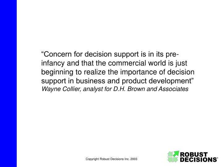 """""""Concern for decision support is in its pre-infancy and that the commercial world is just beginnin..."""
