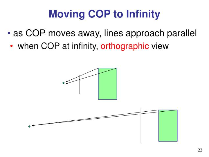 Moving COP to Infinity