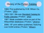 history of the fiction catalog