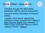 online edition general info