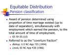 equitable distribution pension classification