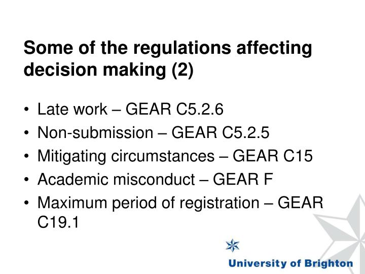 Some of the regulations affecting decision making (2)