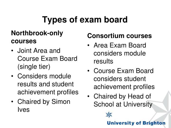 Types of exam board