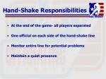 hand shake responsibilities