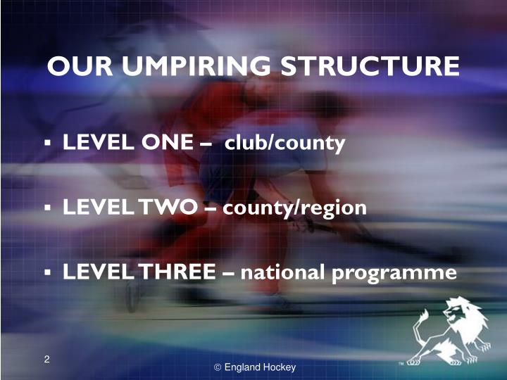 Our umpiring structure