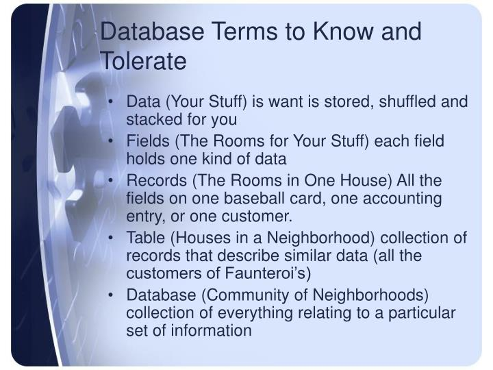 Database Terms to Know and Tolerate