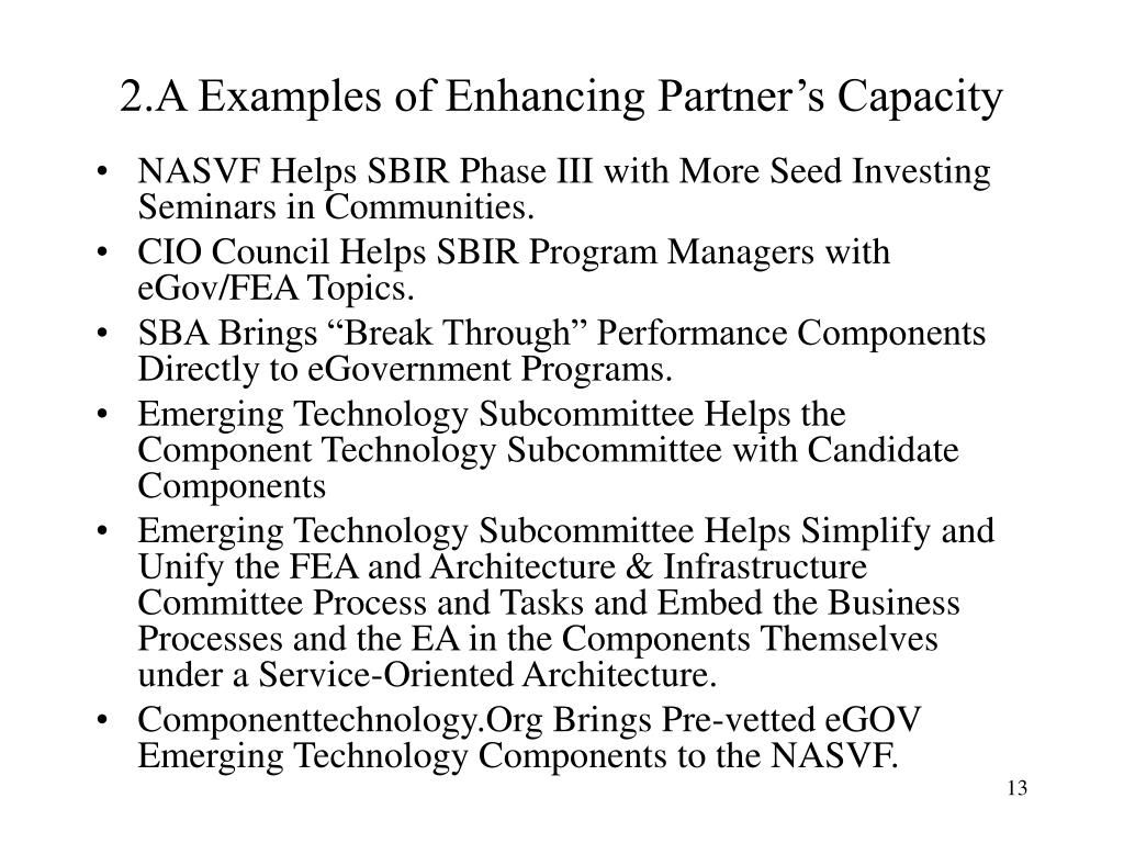 2.A Examples of Enhancing Partner's Capacity