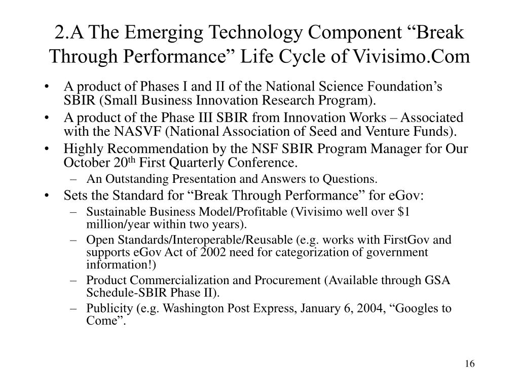 """2.A The Emerging Technology Component """"Break Through Performance"""" Life Cycle of Vivisimo.Com"""