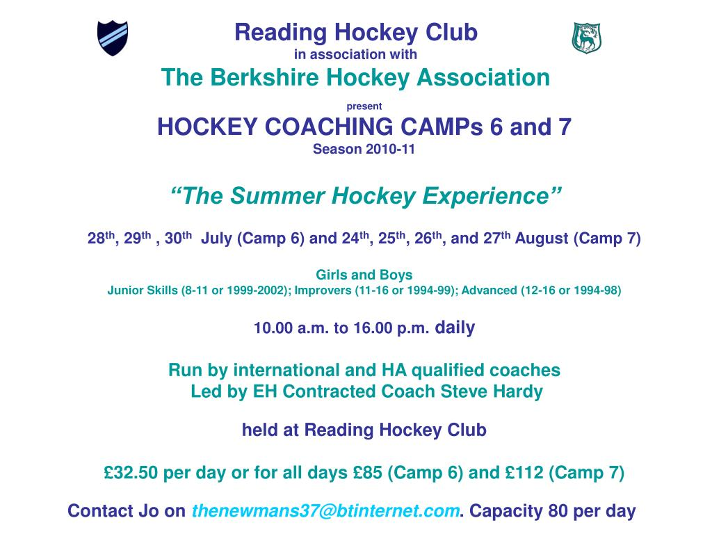 reading hockey club in association with the berkshire hockey association l.