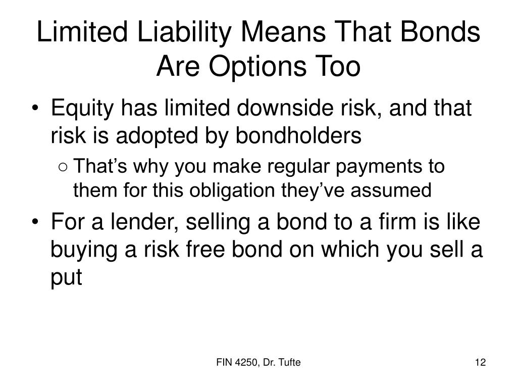 Limited Liability Means That Bonds Are Options Too