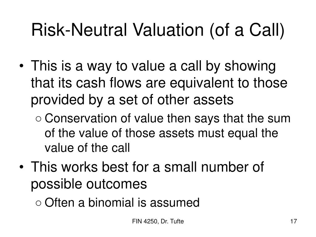 Risk-Neutral Valuation (of a Call)