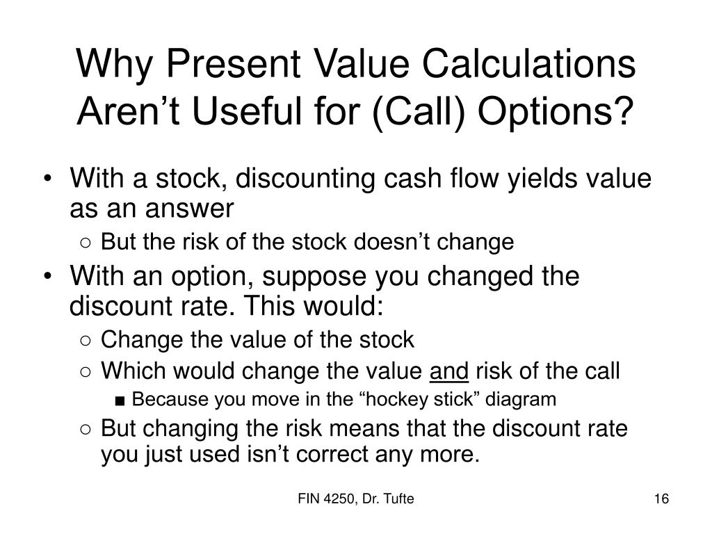 Why Present Value Calculations Aren't Useful for (Call) Options?