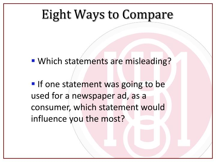 Eight Ways to Compare