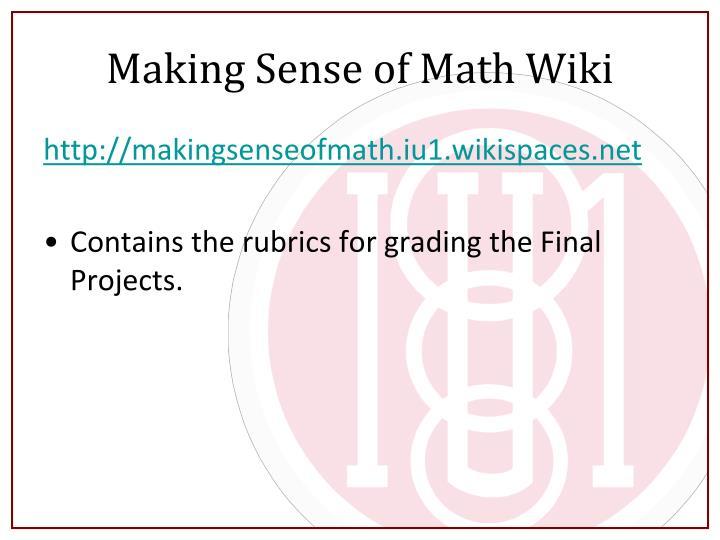 Making Sense of Math Wiki
