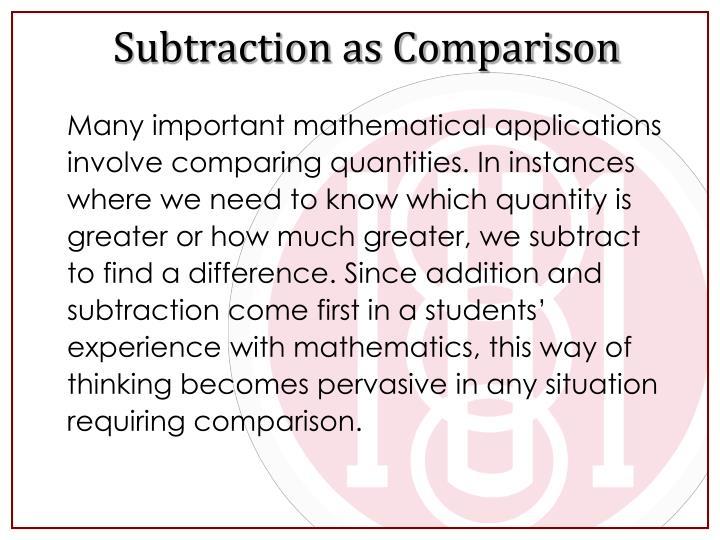 Subtraction as Comparison