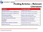 finding articles relevant literature