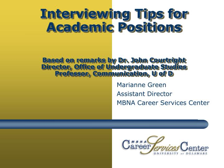 Marianne green assistant director mbna career services center