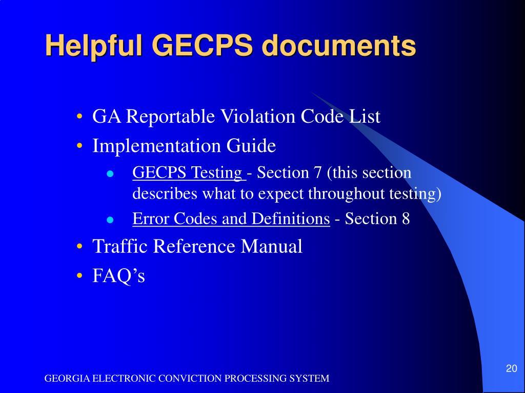Helpful GECPS documents