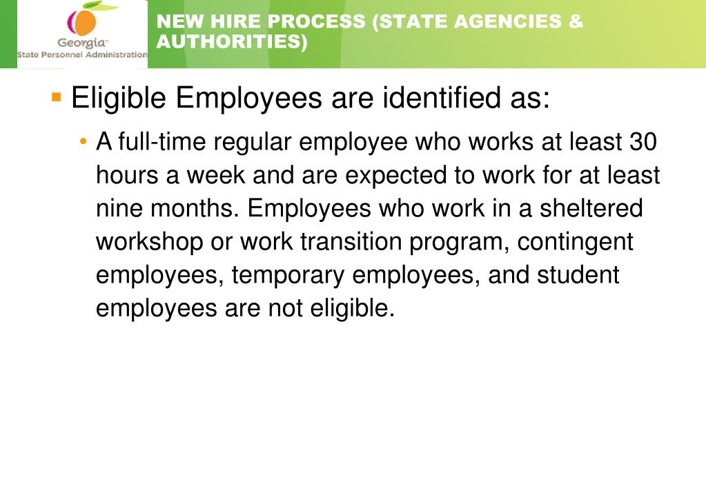 NEW HIRE PROCESS (STATE AGENCIES & AUTHORITIES)