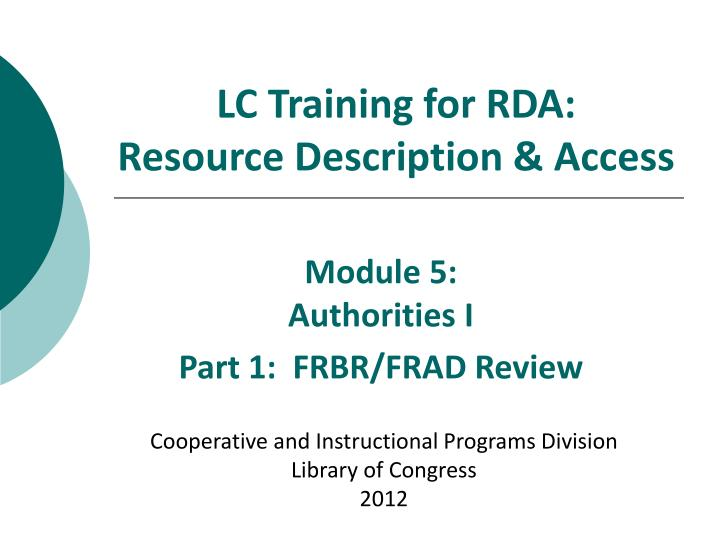 lc training for rda resource description access n.