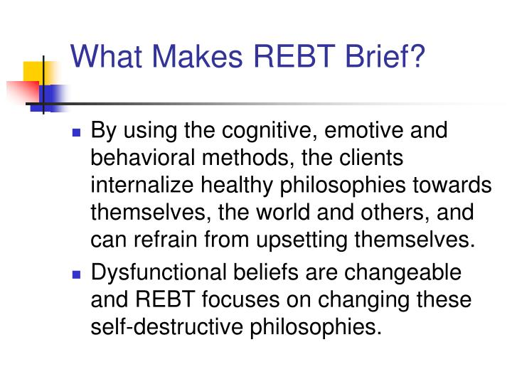 theory outlines behavior and rational emotive Rational emotive behavior therapists make use of a wide variety of behavioral therapeutic approaches such as systemic desensitization, relation techniques, modeling, operant conditioning, and the principles of self management.