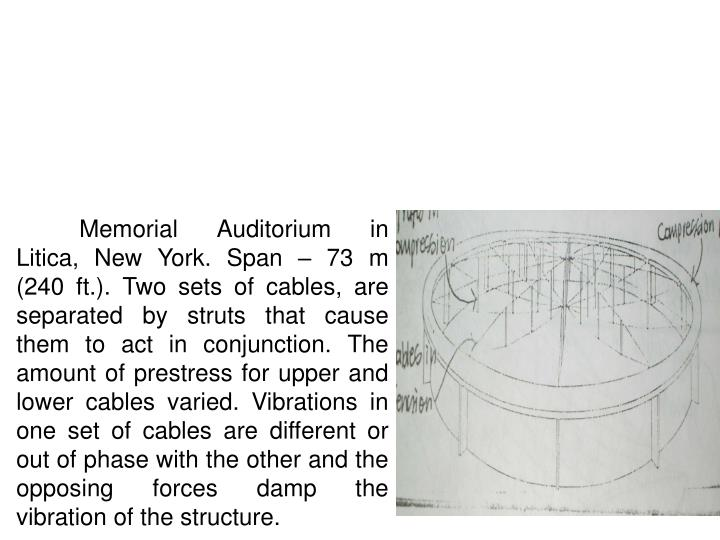 Memorial Auditorium in Litica, New York. Span – 73 m (240 ft.). Two sets of cables, are separated by struts that cause them to act in conjunction. The amount of prestress for upper and lower cables varied. Vibrations in one set of cables are different or out of phase with the other and the opposing forces damp the vibration of the structure.