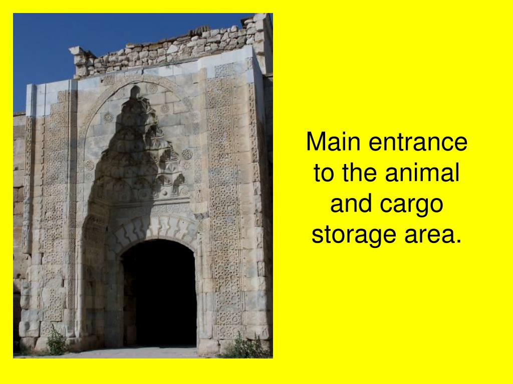 Main entrance to the animal and cargo storage area.