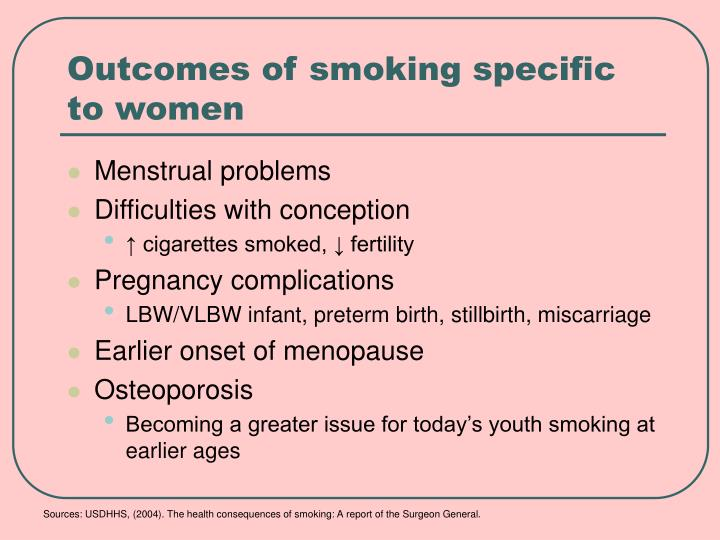 Outcomes of smoking specific to women
