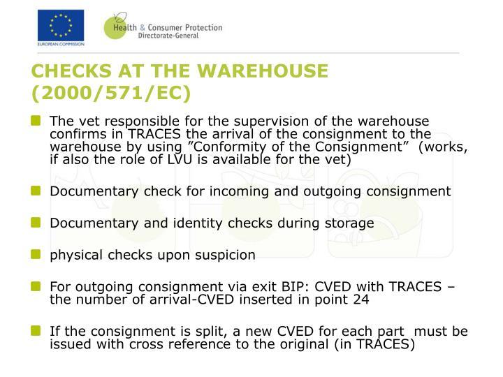 CHECKS AT THE WAREHOUSE (2000/571/EC)