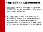 adaptation vs acclimatization