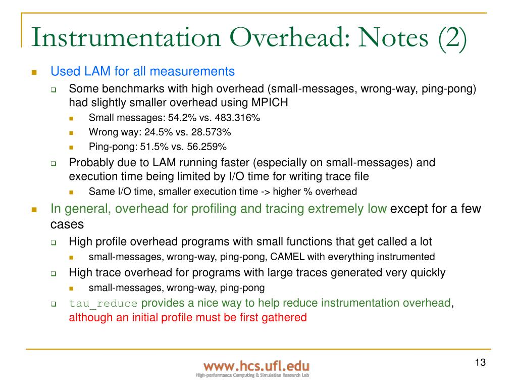 Instrumentation Overhead: Notes (2)