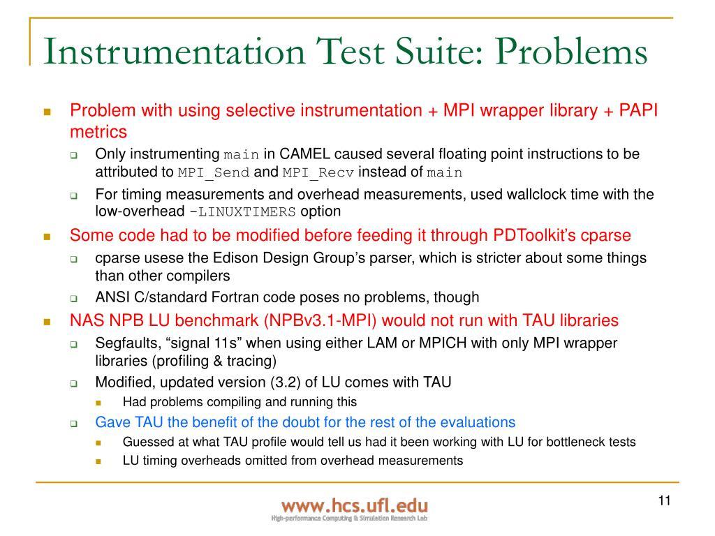 Instrumentation Test Suite: Problems