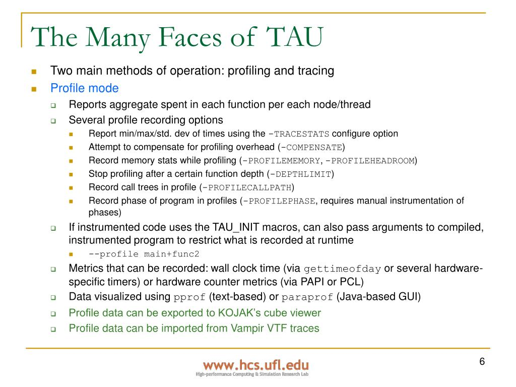 The Many Faces of TAU