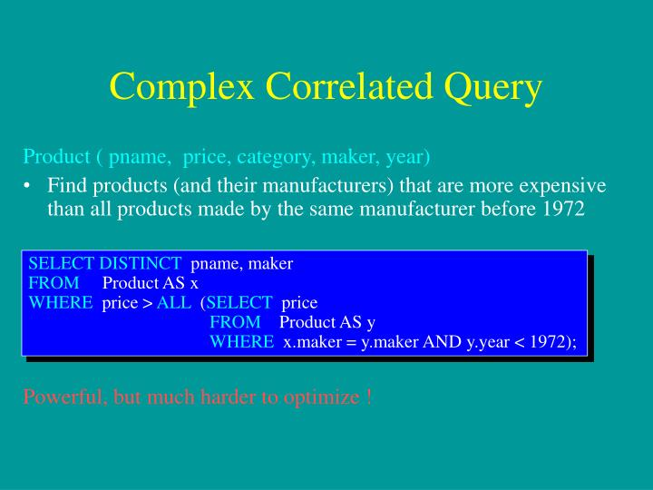 Complex Correlated Query