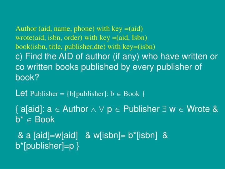 Author (aid, name, phone) with key =(aid)