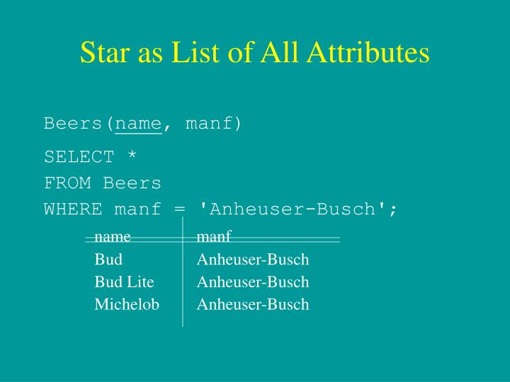 Star as List of All Attributes