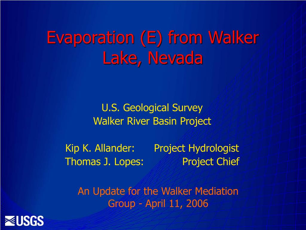 evaporation e from walker lake nevada