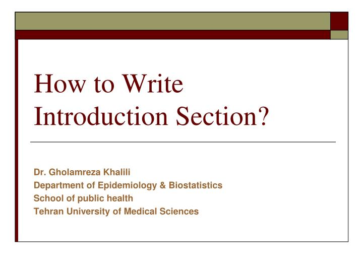 how to write introduction section n.