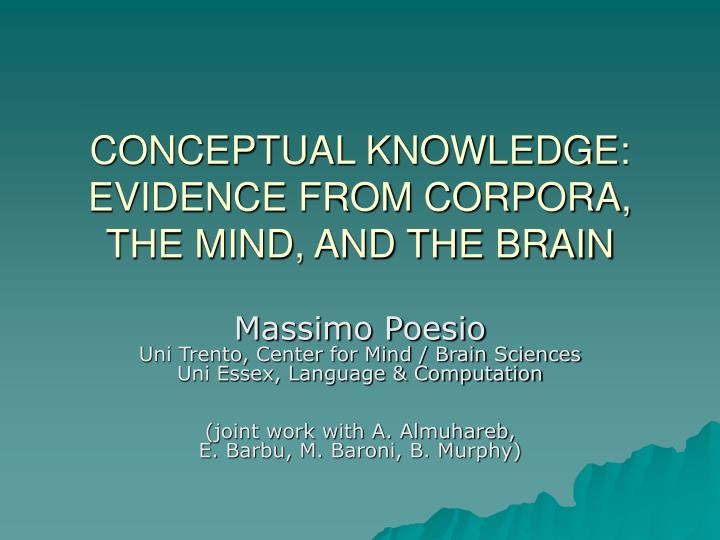 Conceptual knowledge evidence from corpora the mind and the brain