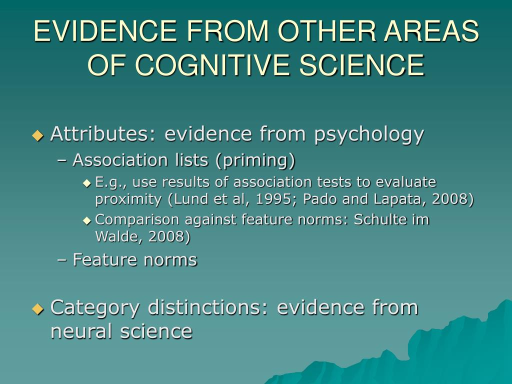 EVIDENCE FROM OTHER AREAS OF COGNITIVE SCIENCE