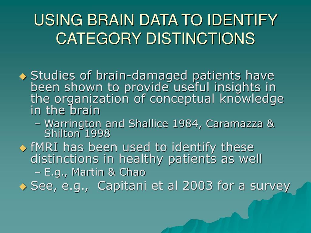 USING BRAIN DATA TO IDENTIFY CATEGORY DISTINCTIONS